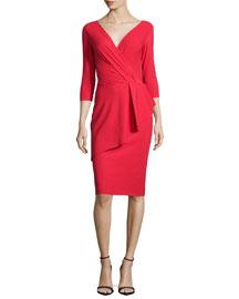 3/4-Sleeve Asymmetric Peplum Cocktail Dress