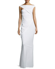 Asymmetric-Sleeve Ruched Column Gown