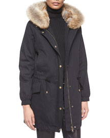Fur-Trimmed Hooded Parka Jacket, Black
