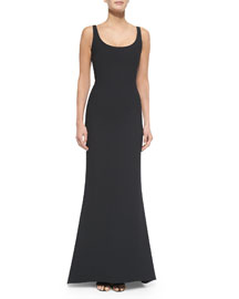 Malaya Sleeveless Scoop-Neck Dress, Black