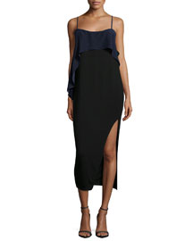 Tulsa Sleeveless Asymmetric Ruffle Dress, Black/Navy