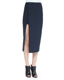 Kennedi Lace-Up Midi Skirt, New Navy