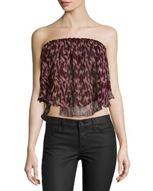 Pippa Ikat-Print Strapless Top, Black Cherry