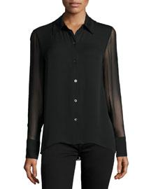 Elissa Long-Sleeve Pleated-Back Top, Black