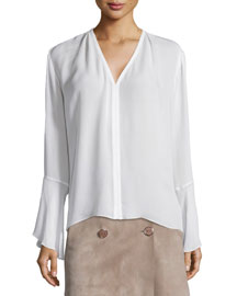 Calla Long-Sleeve Silk Top, White