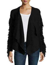 Jenny Long-Sleeve Cardigan W/Fringe Trim, Black