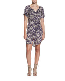 Onalee Butterfly-Print Dress, Regal