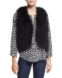 Sunnira Open-Front Feather Vest, Caviar