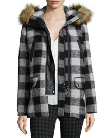 Roni River Plaid Coat with Faux-Fur Hood