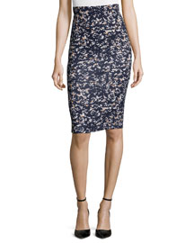Printed Contour Pencil Skirt