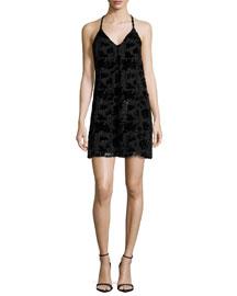 Fierra Sleeveless Velvet-Trim Mini Dress, Black