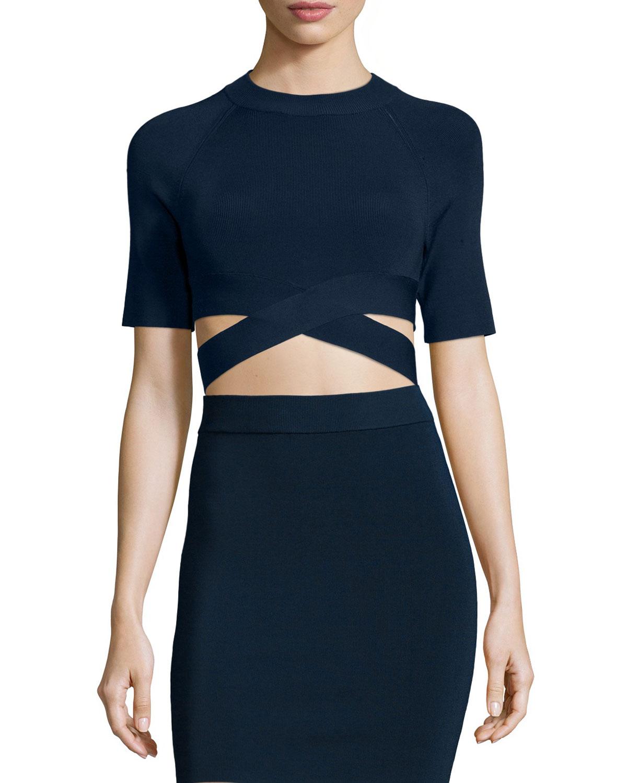 T by Alexander Wang Criss-Cross Short-Sleeve Crop Top, Midnight (Black), Size: SMALL