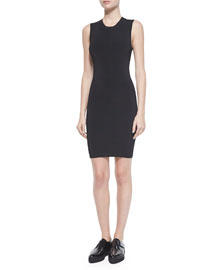 Cutout-Back Fitted Dress, Black