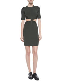Twist-Front Fitted Cutout Dress, Lichen