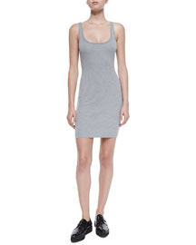 Ribbed Fitted Cami Dress, Heather Gray