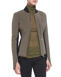 Race Suit Fitted Zip Bomber Jacket, Moss