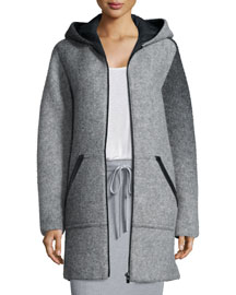 Hooded Wool Zip Jacket, Heather Gray