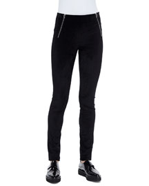Stretch Velveteen Zip Leggings, Midnight