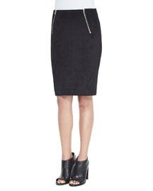 Scuba Zip Pencil Skirt, Black
