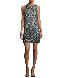 Remi Sleeveless Laser-Cut Shift Dress, Black