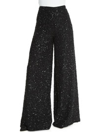 High-Waist Embellished Wide-Leg Pants, Black