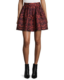 Stora Pleated Tribal-Print Skirt, Red/Orange