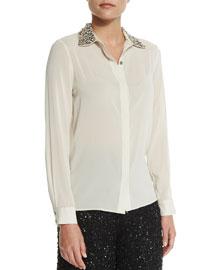 Saira Embellished Silk-Blend Blouse, Cream