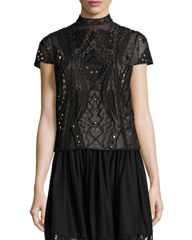 Alice + Olivia Viktoria Embroidered Mock-Neck Top, Black, Size: 6