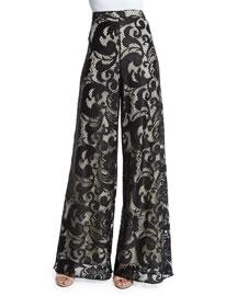 Floral-Lace Super-Flare Pants, Black/Brown