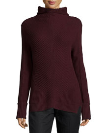Directional-Rib Turtleneck Sweater, Wysteria