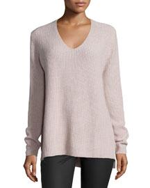 Ribbed Cashmere V-Neck Sweater