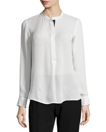 Long-Sleeve Color-Tipped Blouse