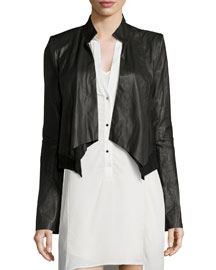 Long-Sleeve Leather Cropped Jacket, Black
