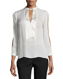 Mandarin Collar Slit-Sleeve Silk Blouse
