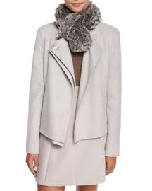 Rabbit Fur Scarf, Stone Gray