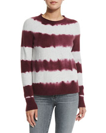 Mariposa Tie-Dye Striped Sweater, Light Heather Gray