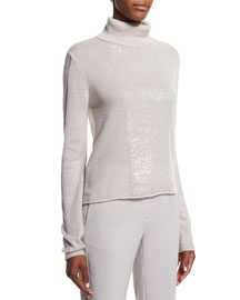 Cashmere Turtleneck Sweater W/ Back Cutout