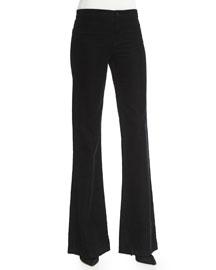 Flare-Leg Corded-Velvet Pants, Black