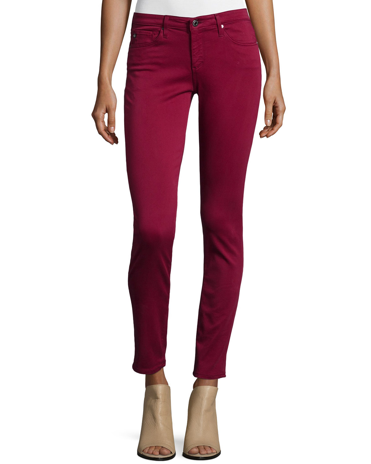 AG Adriano Goldschmied Sateen Stilt Ankle Cigarette, Cabernet Red, Size: 28, Cabernet (Red)
