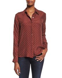 Le Classic Dot-Print Silk Shirt, Andorra Dot