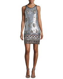 Arlenis Sleeveless Embellished Dress, Silver