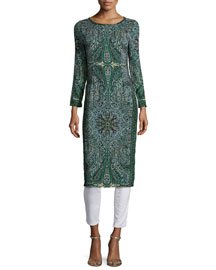 Tito Long-Sleeve Printed Dress, Emerald