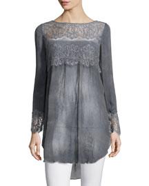 Luspra Long-Sleeve Lace-Embellished Top, Lava