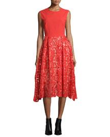 Sleeveless Geometric Sequin Dress, Red