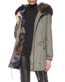 Parka Jacket with Fur-Trim Hood, Army Green