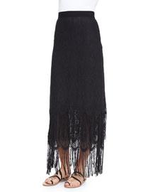 Aurora Fringe Maxi Skirt, Black