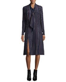 Le Shirt Tie Silk Dress, Navy Vintage Stripe