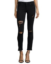 Emma Slashed Cropped Jeans, Black