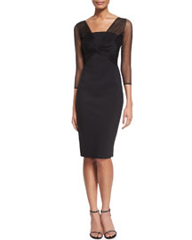 Rosemarie 3/4-Sleeve Mesh-Top Dress