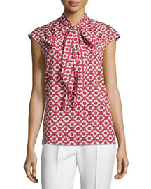 Cap-Sleeve Neck-Tie Blouse, Red Pattern